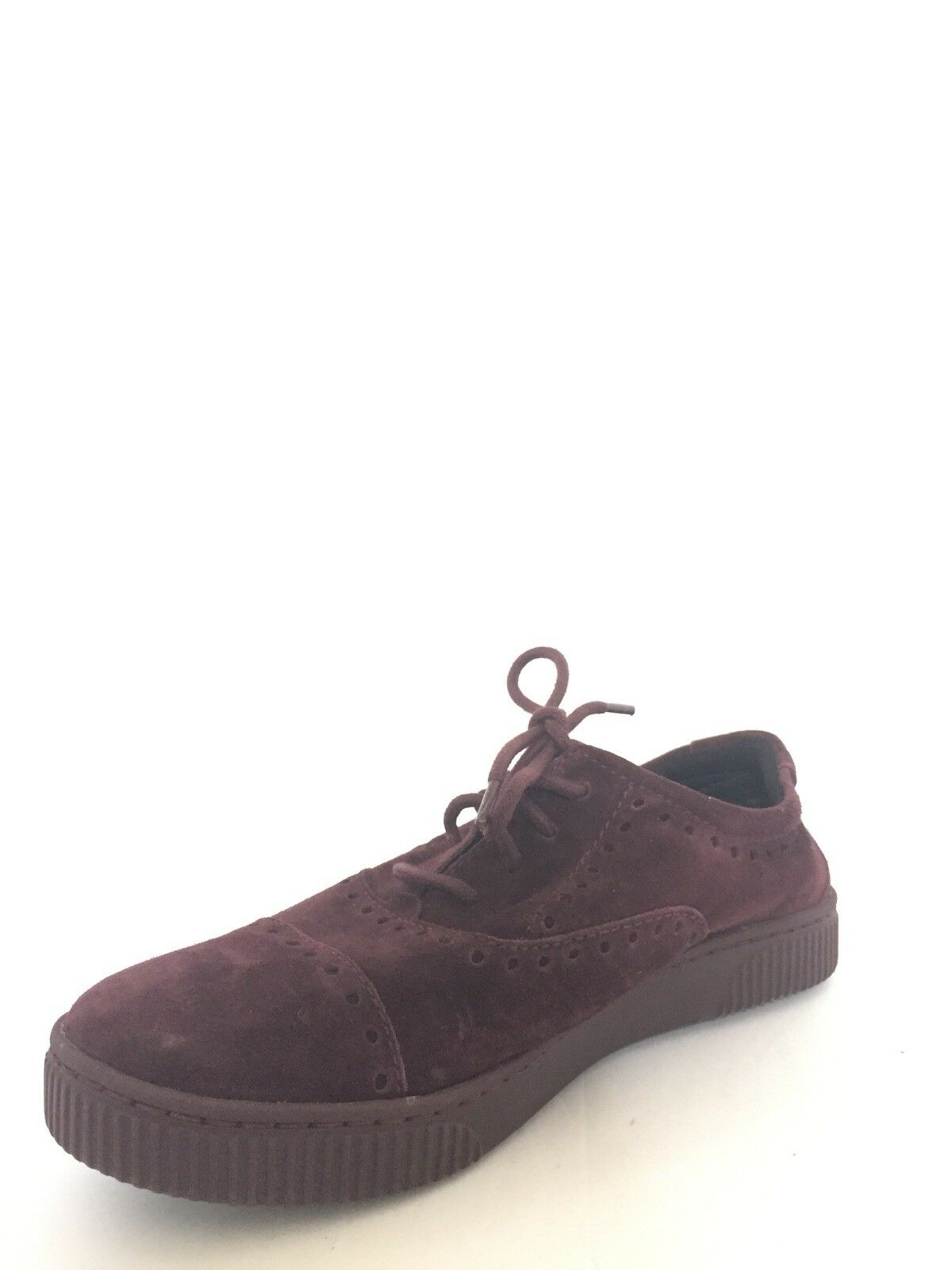 Nouveau Né pour femme Taille 7 bordeaux en cuir et daim Oxford Baskets chaussures De Sport