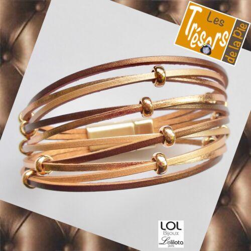 Bracelet multirangs aimanté LOL BIJOUX 14 perles Lolilota Cuivré bronze doré
