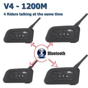 7108540c11d Image is loading 4Pcs-V4-1200M-Bluetooth-Interphone-Motorcycle-Helmet- Intercom-