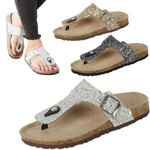 Glitter Thong Open Toe T-Strap Buckle
