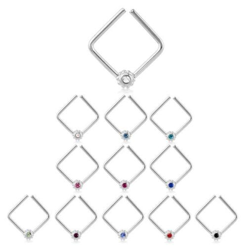 316L Surgical Steel Seamless Nose Ring Daith Helix Continuous Square CZ Hoop 16G