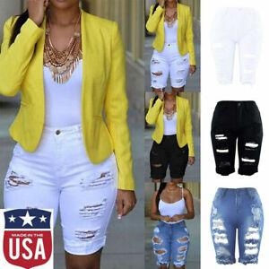 Womens-Elastic-Destroyed-Hole-Leggings-Short-Pants-Denim-Shorts-Ripped-Jeans-US