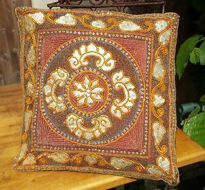 Freedom-Tree-Floral-Embroidered-amp-Embellished-Cushion-Cover-14-034-Velvet-Back