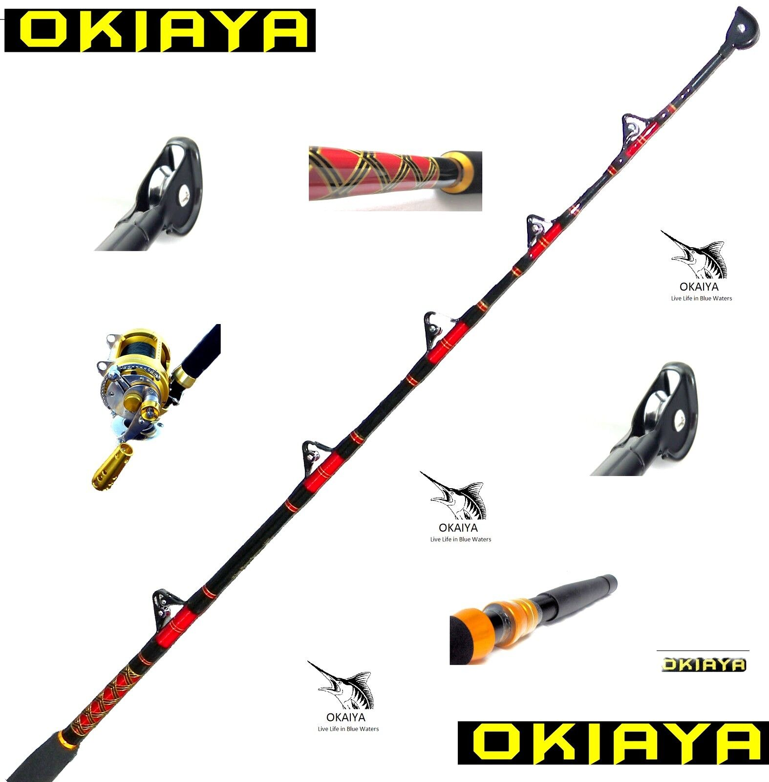 OKIAYA COMPOSIT 80-130LB  THE BOSSHOSS  SALTWATER BIG GAME ROLLER ROD