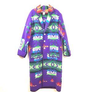 Double-D-Ranch-Wear-Coat-Jacket-L-Purple-Aztec-Southwestern-VTG-Wool-Rare-Multi