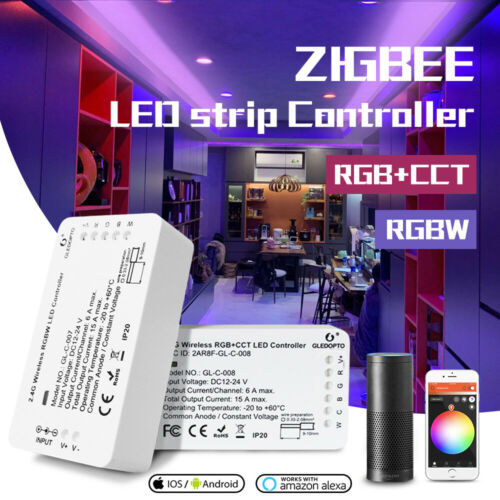 DC12-24V RGB+CCT//RGBW Zigbee 3.0 Smart LED Strip Controller work with Echo plus