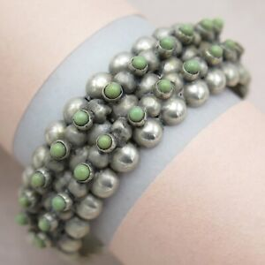 Vtg-1940-s-Early-Mexican-Sterling-Silver-Turquoise-Hinged-Domed-Bracelet