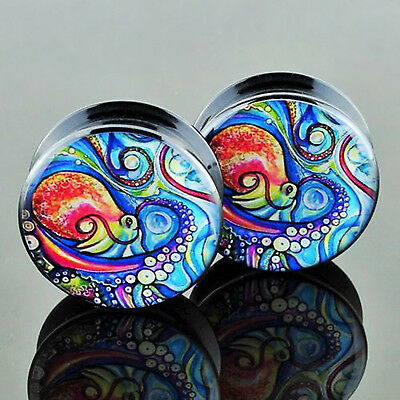 Pair Acrylic Painted Octopus Ear Flesh Tunnels Plugs Earlets Earskin Gauges New