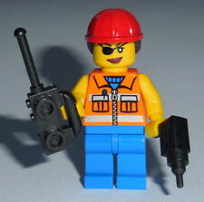 TOWN/CITY Lego Female Construction Worker w/acc's NEW Hard Hat Ponytail Genuine