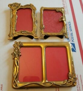 3-VTG-ART-NOUVEAU-SOLID-BRASS-FAIRY-LADY-FOOTED-PICTURE-FRAMES-ITALY-DOUBLE