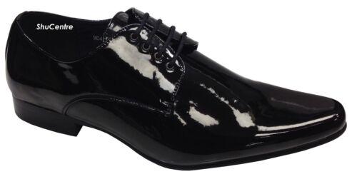 Herren Glänzend Spitz Zulaufend Lack Büro Formell Freizeit Smart Schuhe Leder