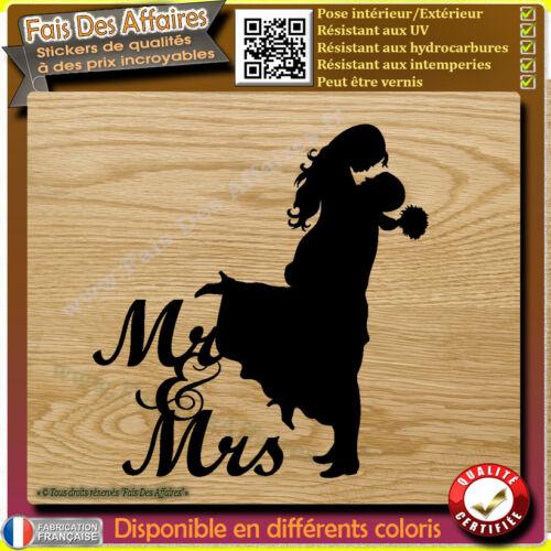 Sticker autocollant Mariage Mr /& Mrs decal vive les mariés