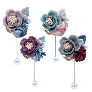 Wedding Flower Corsage Lapel Pin Brooch Suits Boutonniere Suit Stick Pins Gifts Ebay