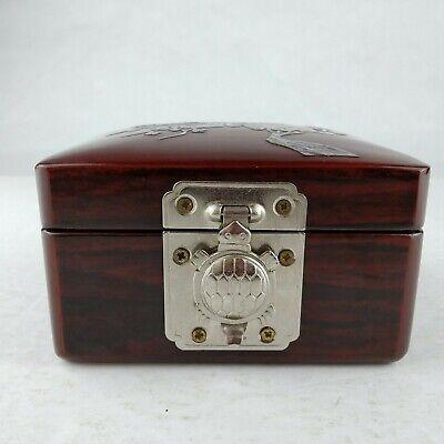 Vintage Black Laquer Mirrored Trinket Box WTurtle Clasp