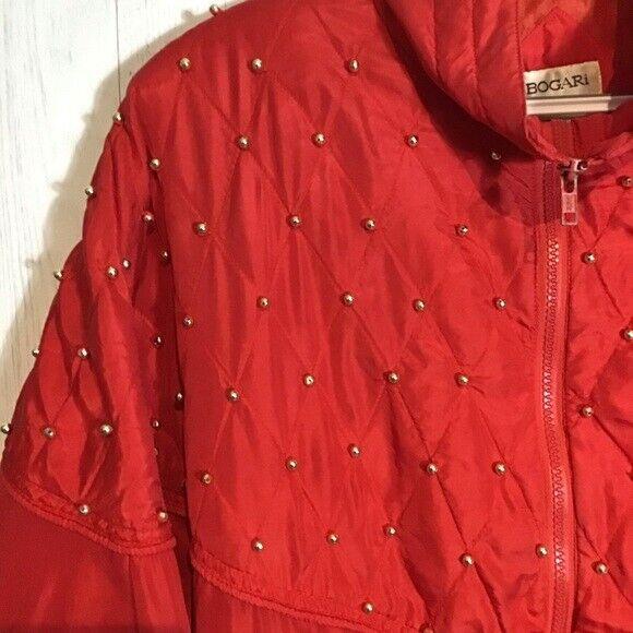 Vintage Bogari Silk Red Bomber Jacket With Beads - image 2