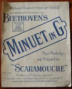 """Beethoven Minuet in G as played in """"Scaramouche"""" Antique Sheet Music – Pub.1901"""