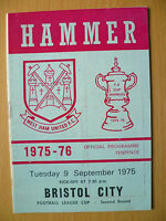 Football League Cup 2nd RD- WEST HAM UNITED v BRISTOL CITY, 9 September, 1975