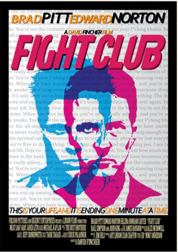 STICKER AUTOCOLLANT POSTER A4 FILM FIGHT CLUB.TYLER DURDEN EDWARD NORTONAFFICHE