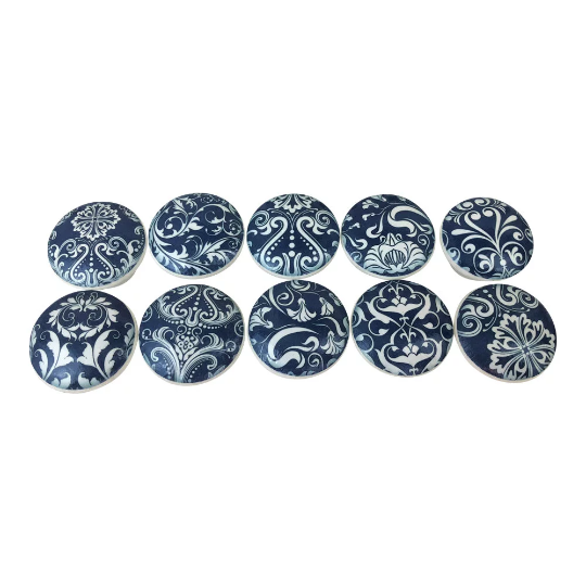 Set of 10 10 10 Navy and Weiß Floral Medallion Cabinet Knobs 4a31e0