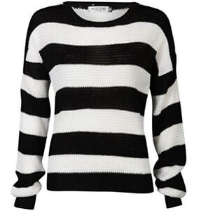 WOMENS LADIES CASUAL BLACK  WHITE STRIPED CHUNKY KNITTED BAGGY ... 47e20fd7d801
