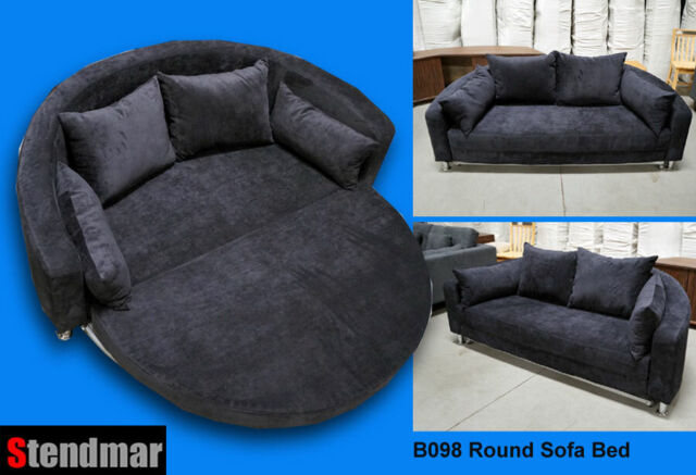 Sensational Modern Black Microfiber Round Microfiber Sofa Bed B098Bk Spiritservingveterans Wood Chair Design Ideas Spiritservingveteransorg