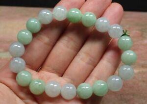 Hot-Certified-Icy-White-Green-A-JADE-Jadeite-Bead-Beads-Bangle-Bracelet-2019