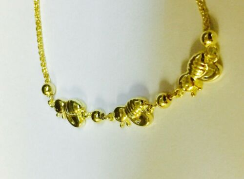 """14kt Yellow Gold 9.25/"""" Friendship /""""BEE/"""" bracelet with Adjustable slide clasp"""