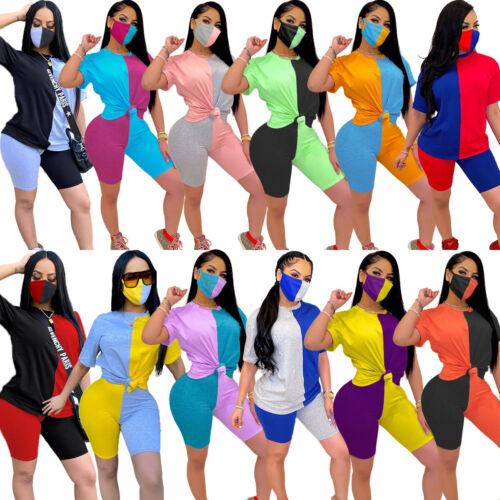 Womens Casual Costume Short Sleeve Tops Pants 3PCS Set Sporty Wear Crew Neck
