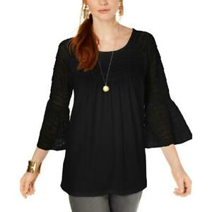 Style-amp-Co-Womens-Lace-Bell-Sleeves-Scoop-Neck-Pullover-Top-Blouse-BHFO-7179