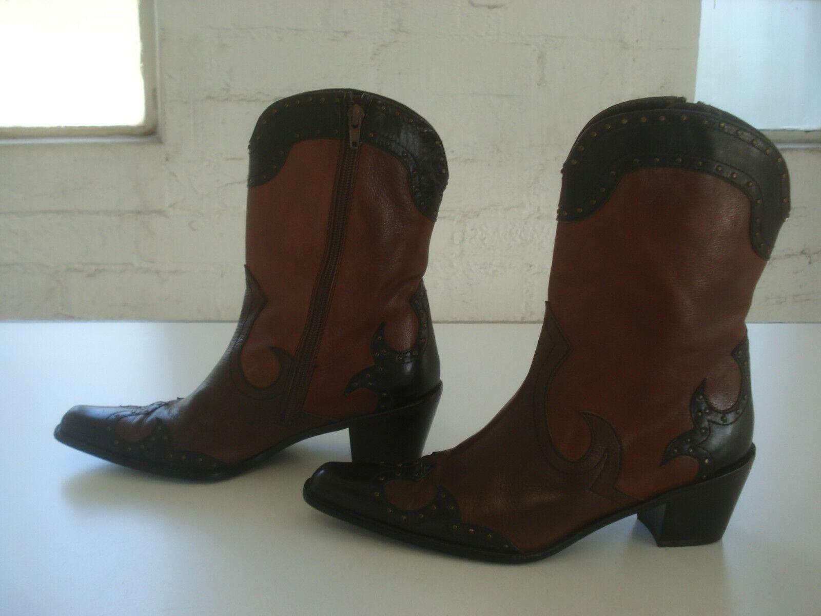 Stewart Weitzman Womens Brown Leather Western Boots Size US 7 1 2 M