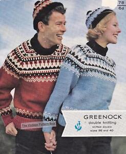 Fair Isle Sweater Cap 8ply Or D K Copy Knitting Pattern Ebay