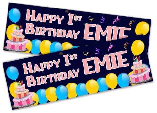 Details about  /x2 Personalised Birthday Banner Toddler Design Children Kids Decoration 92