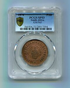 PCGS-SP-53-BN-South-Africa-ZAR-Rare-1874-Transvaal-Pattern-2-Pence-Only-50-made