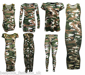 ea75ff86abbb27 New Women's Camouflage Army Print Leggings,Vest Top & Cap Sleeve ...