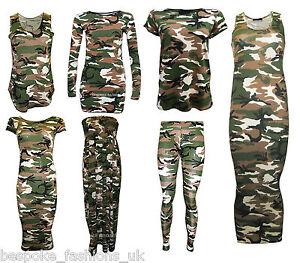 New-Women-039-s-Camouflage-Army-Print-Leggings-Vest-Top-amp-Cap-Sleeve-Midi-Size-SM-ML