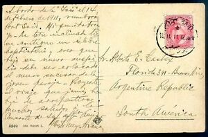 L-039-Inde-Britannique-a-l-039-Argentine-diffuse-carte-postale-1912-rare-destination-VF