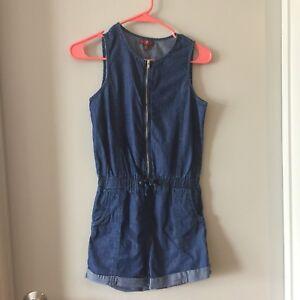 24efb0da0e54 7 For All Mankind Girls Large Dark Denim Jeans Romper Jumpsuit ...