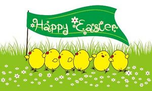 Happy Easter Chicks Flag 5 x 3 FT - 100% Polyester With Eyelets - Easter Flag