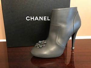9b2b90c1a9fe CHANEL Gray Leather Camellia Flower Ankle Short Boots Heels Shoes EU ...
