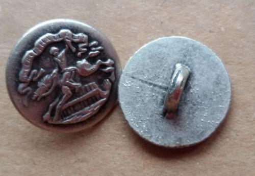 2 Costume traditionnel bijoux métal Boutons Couleur Altsilber médiévale pièce cavaliers 15 mm