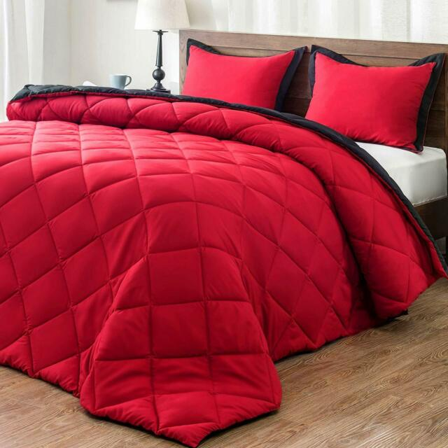 with 2 Pillow Shams King 3-Piece downluxe Lightweight Solid Comforter Set