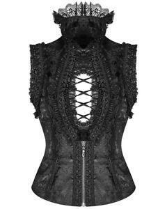 Punk-Rave-Pyon-Gothic-Sleeveless-Blouse-Top-Vest-Black-Brocade-Steampunk-Lolita