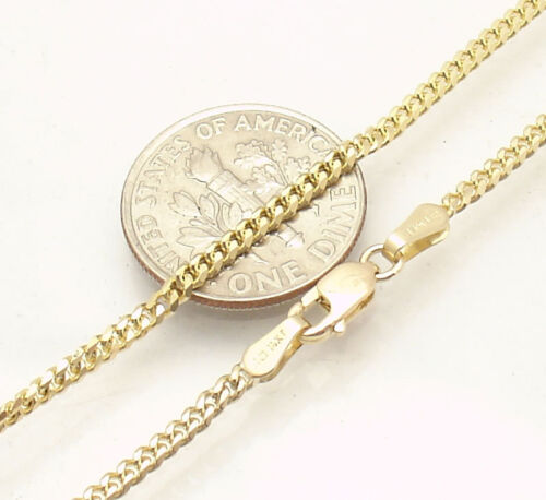 """10/"""" 2mm Solid Miami Cuban Curb Chain Ankle Bracelet Anklet Real 14K Yellow Gold"""