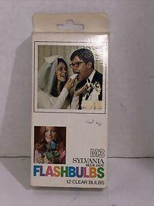 SYLVANIA  Blue Dot FLASHBULBS M3. Original Box of 12 Clear Bulbs