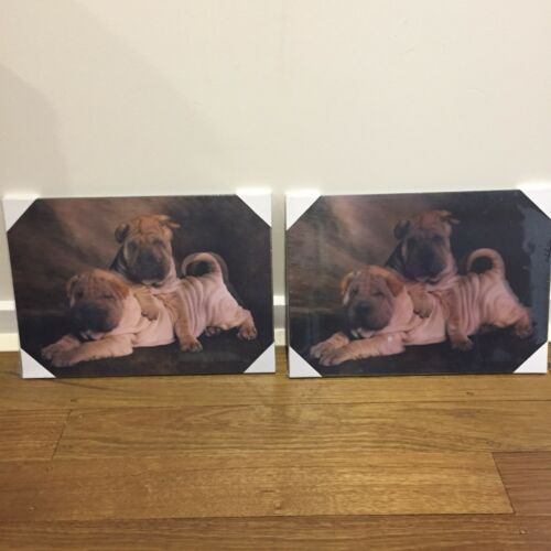 3D Lenticular WOOD wall display Plaque So Cute Dogs Great 4 Gifts