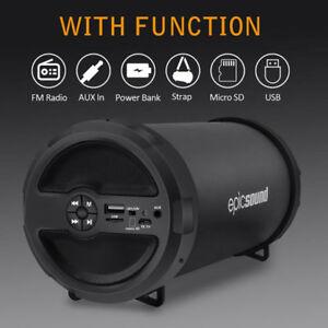 Portable Bluetooth Wireless Speaker Waterproof Power Bank Bass Loudspeaker FM