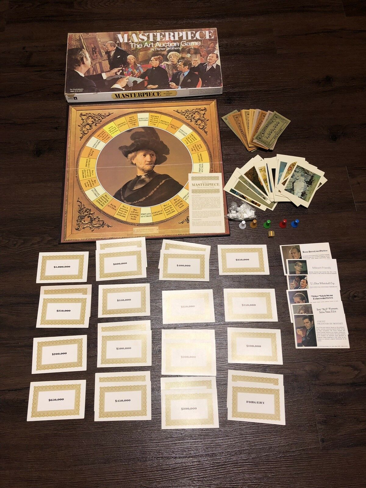 Vintage 1970 MASTERPIECE THE ART AUCTION board game-Parker Bros. 99.5% Complete