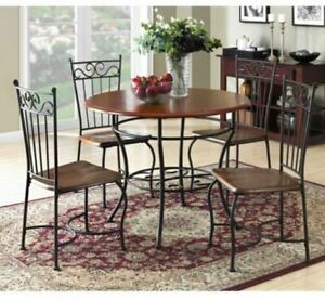 Details About Round Dining Set Rustic Cafe Style Furniture Kitchen Space  Breakfast Table Chair