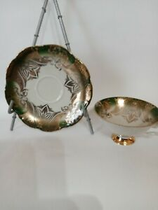 Bavaria cup and plate set Green with gold accents trim vintage