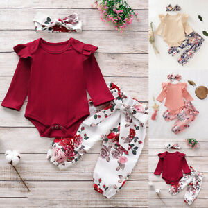 Newborn Infant Baby Girl 3Pcs Outfits Ruffles Romper Clothes Pants+Headband fz
